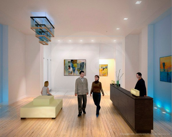 Office Interior Lobby Rendering