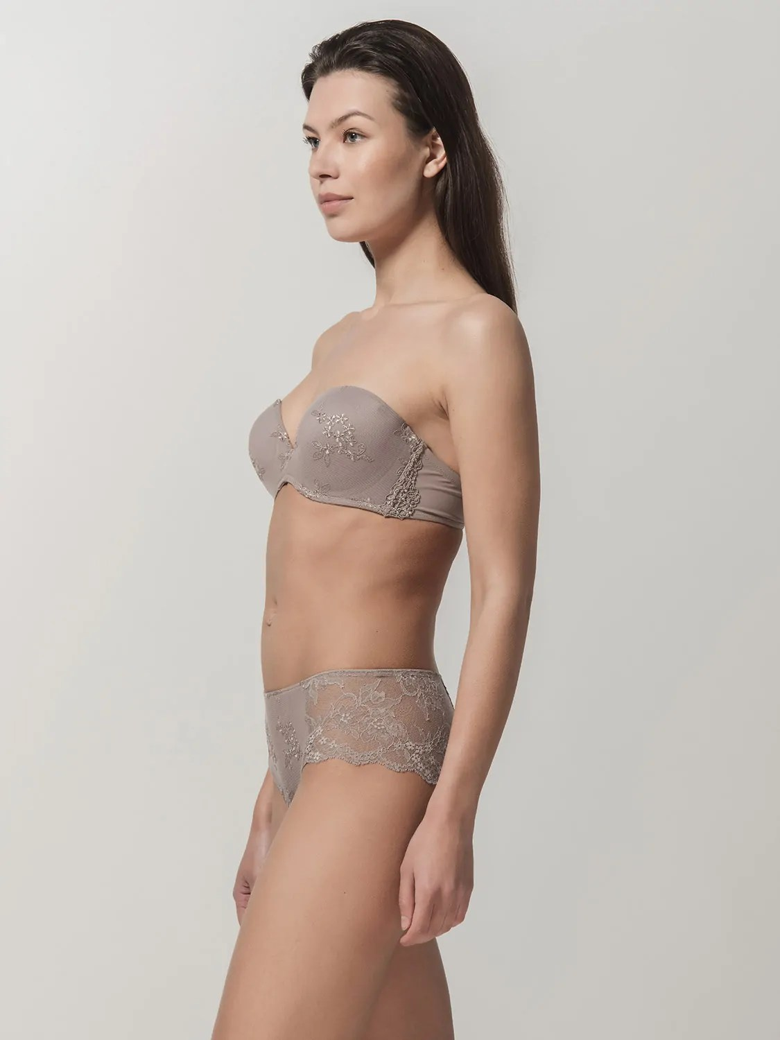 Honeymoon 14032 strapless & 24032 hipster vison side