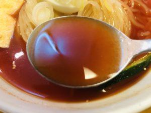 明明家フェザン店 もりおか冷麺 特辛 スープ
