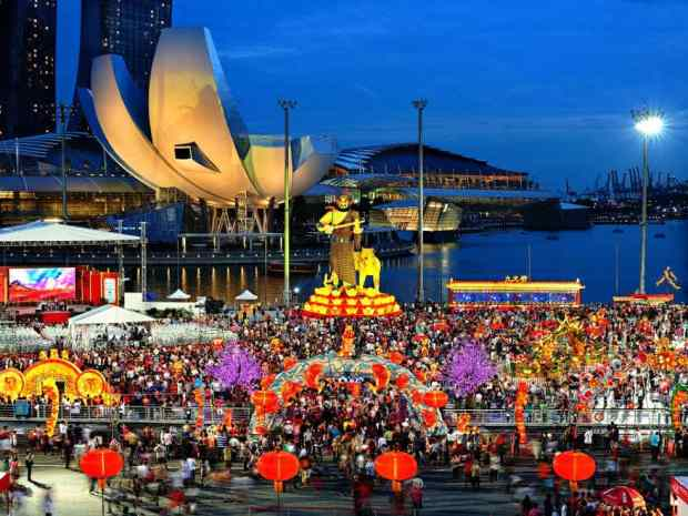 Chinese figures of myth and legend light up Marina Bay.