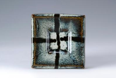 Square Dish 15cm. Nuka and Tenmoku glaze.