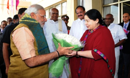 The Prime Minister, Shri Narendra Modi being received by the Chief Minister of Tamil Nadu, Ms. J. Jayalalithaa, at Chennai airport.  Photo Credit: Narendra Modi/flickr