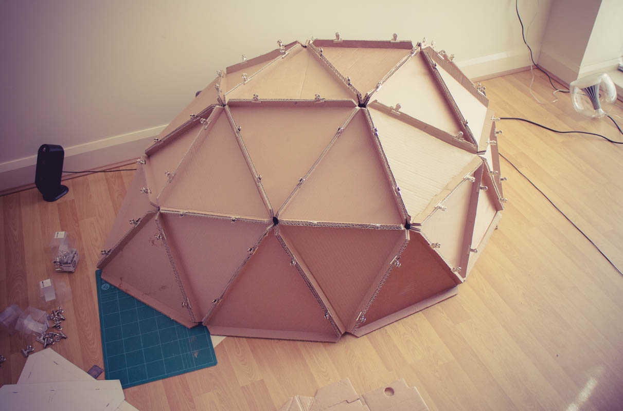 geodesic-dome-cardboard-constructing