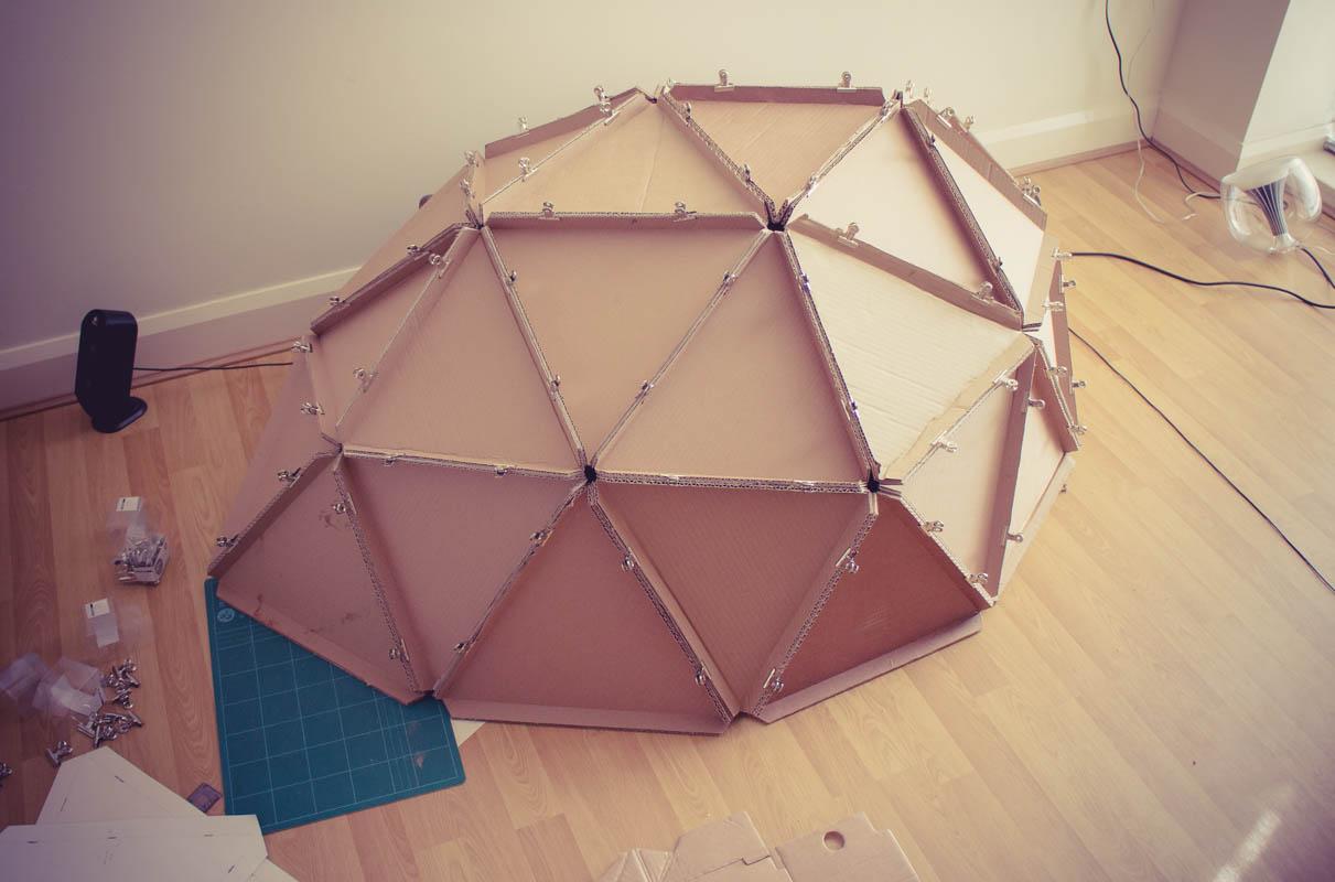 geodesic-dome-cardboard-constructing