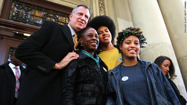 New York Democratic mayoral candidate Bill de Blasio poses with his family, wife Chirlane McCray, son Dante de Blasio and daughter Chiara de Blasio  (Photo by Spencer Platt/Getty Images)