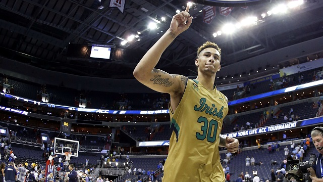 Mar 10, 2016; Washington, DC, USA; Notre Dame Fighting Irish forward Zach Auguste (30) salutes fans in the stands while leaving the court after the Fighting Irish' game against the Duke Blue Devils during day three of the ACC conference tournament at Verizon Center. The Fighting Irish won 84-79 in overtime. Mandatory Credit: Geoff Burke-USA TODAY Sports