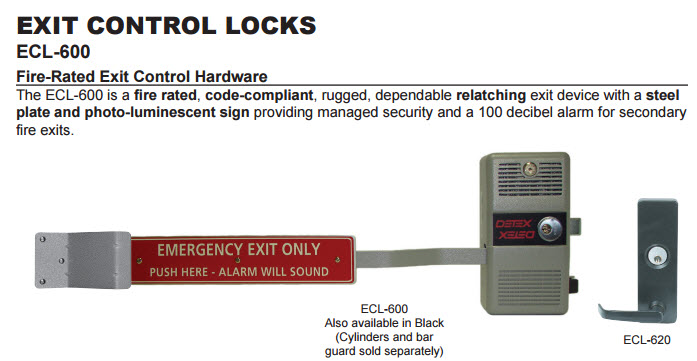 Detex Fire-Rated Exit Control Hardware Detex Corporation ECL600