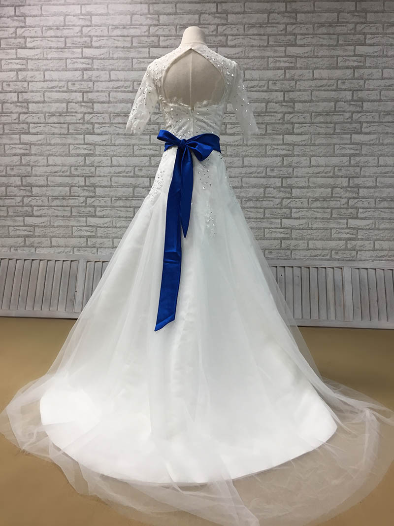 Hite Lace Half Sleeve Beaded Fit and Flare Tulle Wedding Dress with Royal Blue Sash  Custom