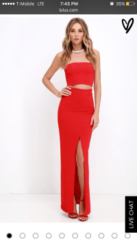 Tight Fitted Red Two-piece Prom Dress with Invisible ...