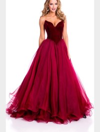 Dark Red Velvet Prom Dress - Custom Design - Lunss Couture