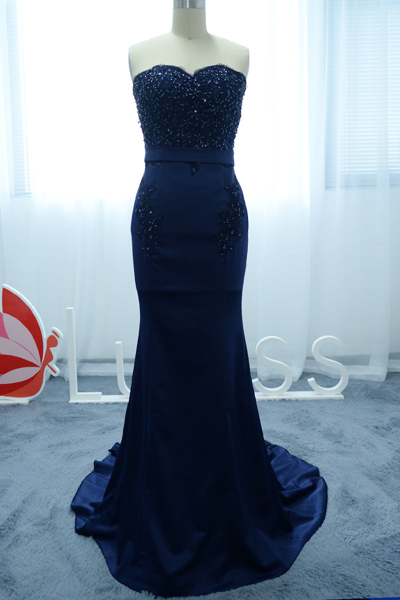 Navy Strapless Sequined Lace Altered Mermaid Homecoming