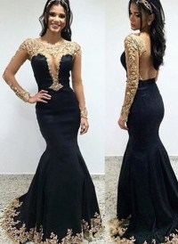 Gold Appliqued Long Sleeves Black Mermaid Prom Dress ...