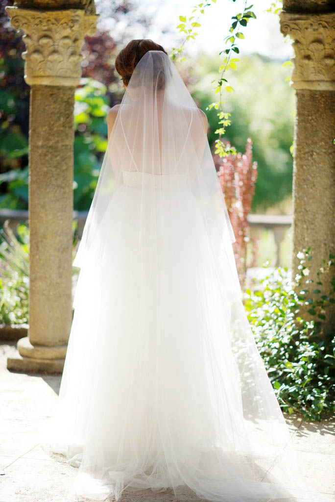 Ivory Floor Length Onetier Illusion Tulle Summer Bridal