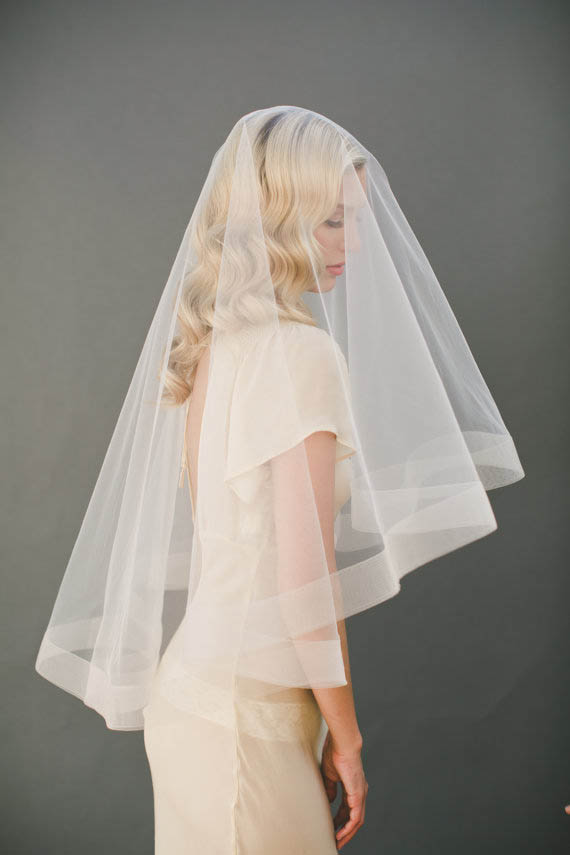 Bridal Illusion Tulle Cascading Singlelayer Fingertip Length Drop Veil  Lunss Couture
