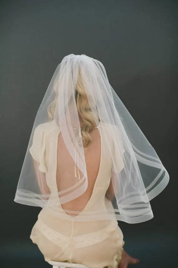 Handmade Ivory Elbow Length Bridal Veil Ribbon Edge