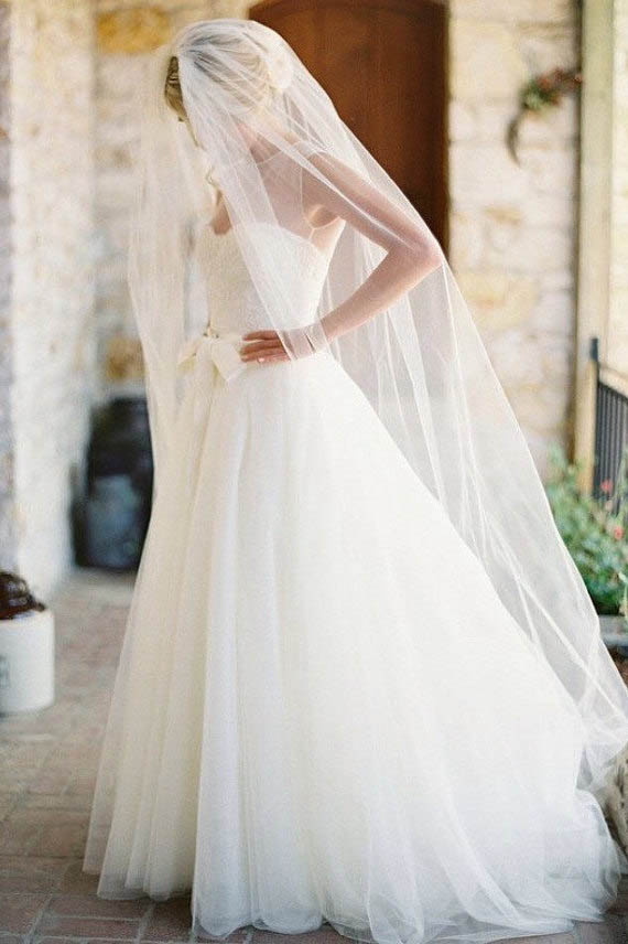 Single Tier Elegant Chapel Length Bridal Veil Lunss