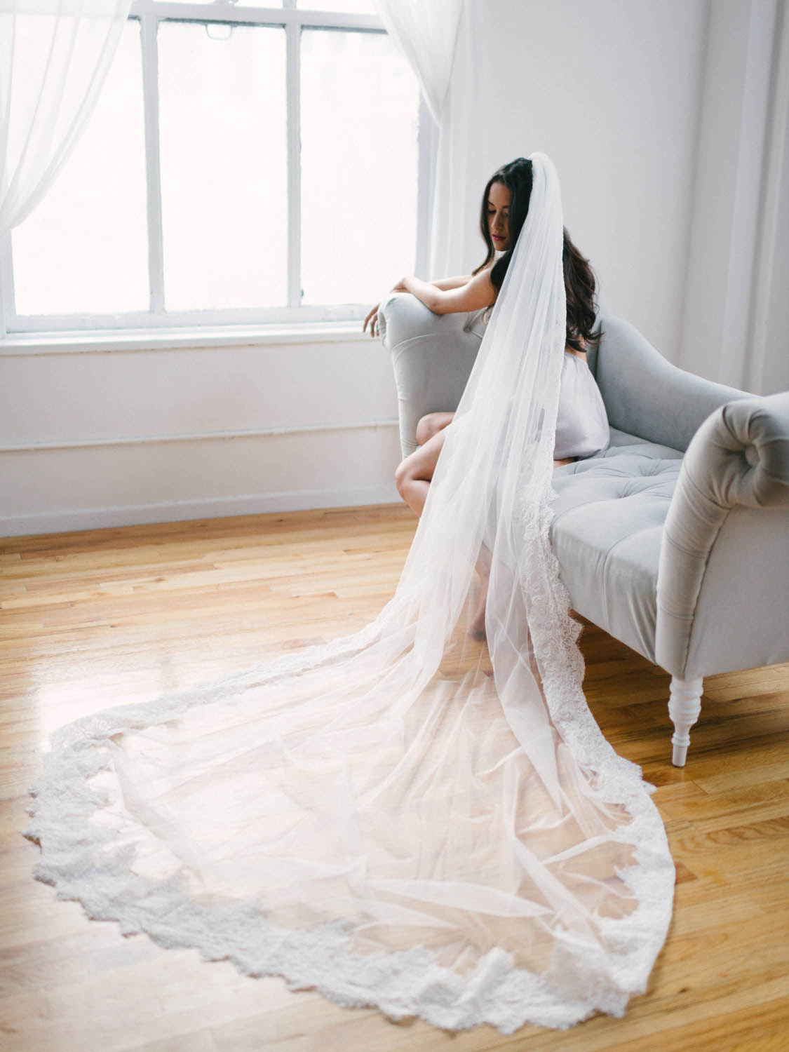 Cathedral Laced Edge Veil Beautiful Long Tulle Wedding Veil  Lunss Couture