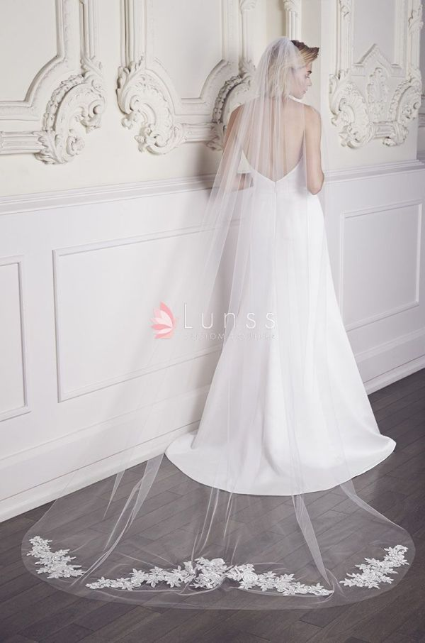 Ivory Cathedral Length Single-tier Lace Wedding Veil - Lunss
