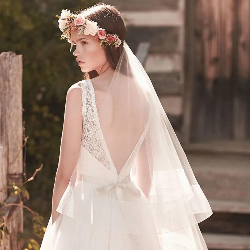 Handmade Fingertip Length Boho Wedding Veil Twotier Tulle