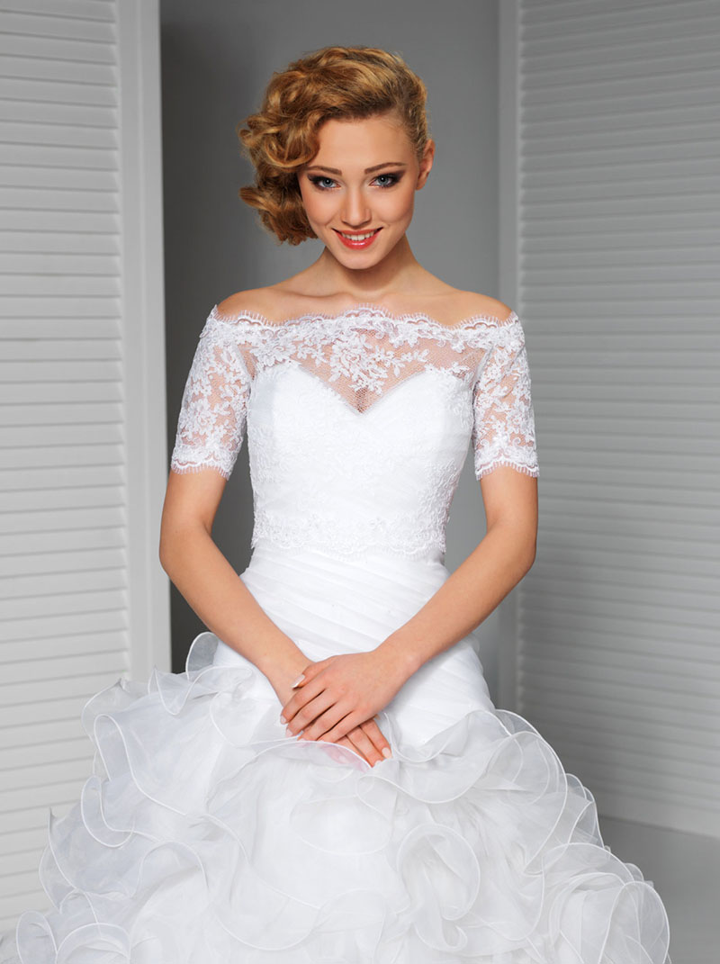 White Wedding Lace Top Offtheshoulder Bridal Bolero