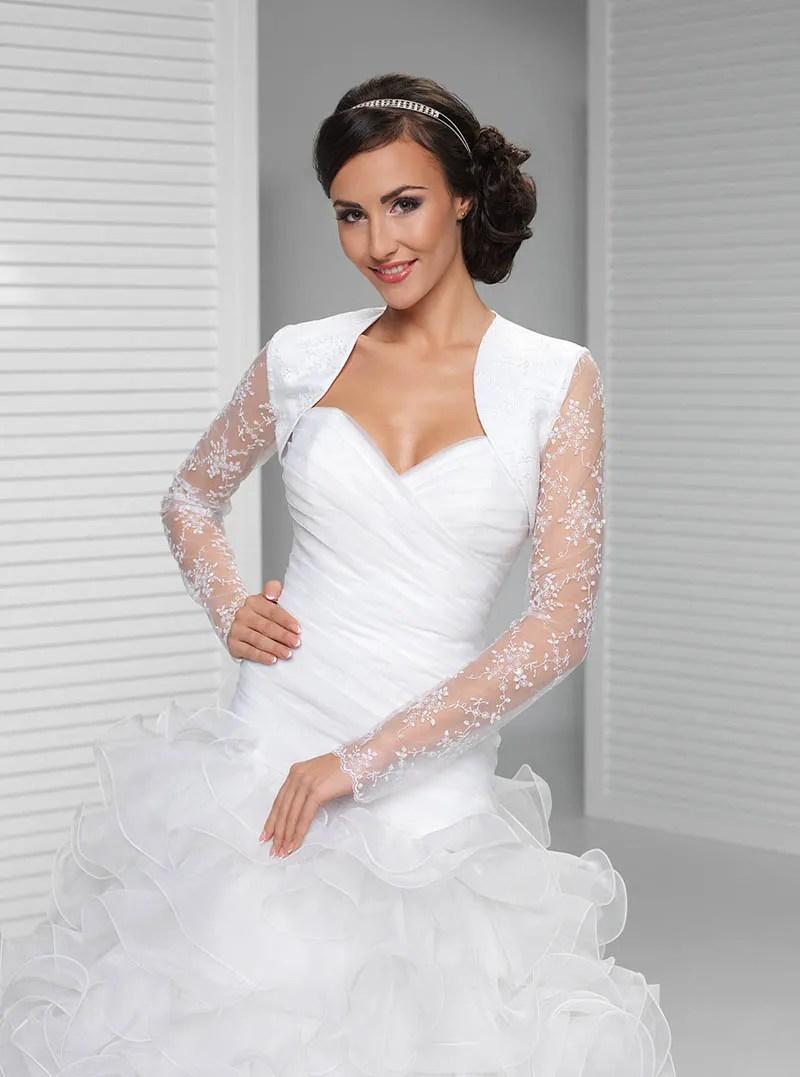 Illusion Long Sleeve Lace Bridal Bolero White Wedding