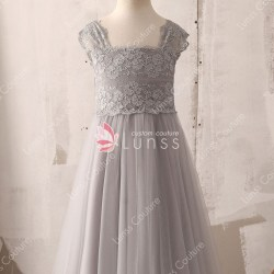 7b630282540 Grey Lace And Tulle Tea Length Graceful Flower Girl Dress Lunss