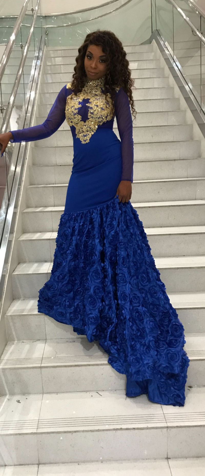 3D Floral Royal Blue Mermaid Custom Made Prom Dress with Gold Lace Appliques  Custom Design