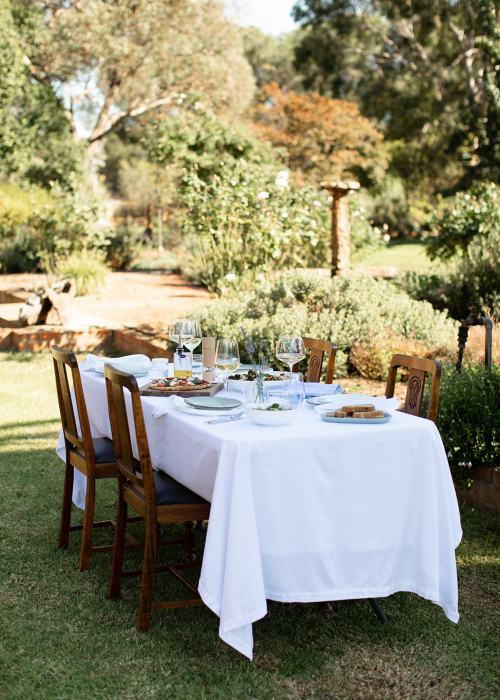 Table spread in farm garden