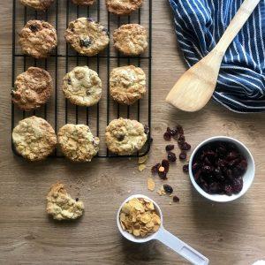 White choc cranberry cookie