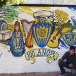 Joven homenajea a Luqueño con mural alusivo al centenario