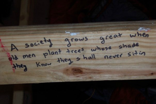 A society grows great when old men plant trees whose shade they know they shall never sit in