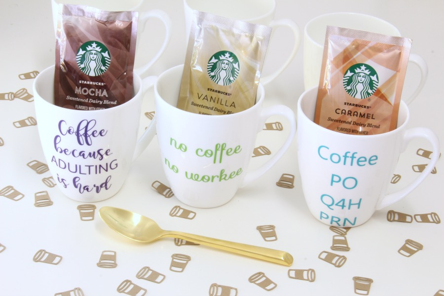 Caffe Latte K cup flavor packets in cut diy mugs