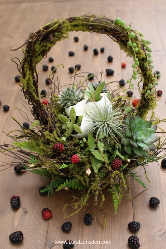 Fruit and Succulent Easter Basket with Moss Twigs