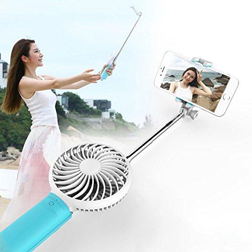 E-More 3イン1 自撮り棒&扇風機  卓上/携带ファン usb充電 風量3段切れ替え 4枚羽根 スマホ充電できる スイッチ付き 手持ち扇風機 usbファン 小型  Samsung、iphoneなどを対応 (blue)