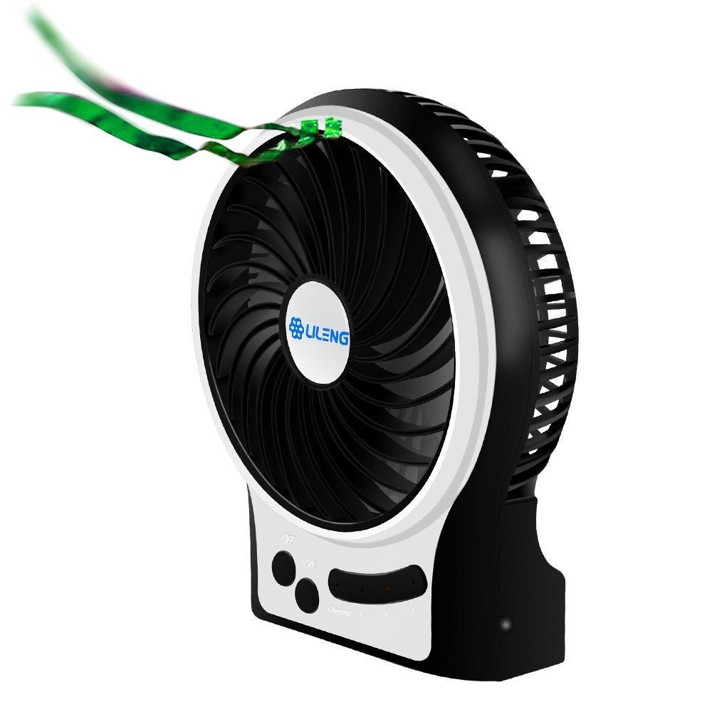 VersionTech 小型扇風機 【充電池/USB給電】 3段階風量調節可能 携帯ファン 小型ファン 卓上usb扇風機 ミニファン 静音サーキュレーター 4枚羽根 ブラック