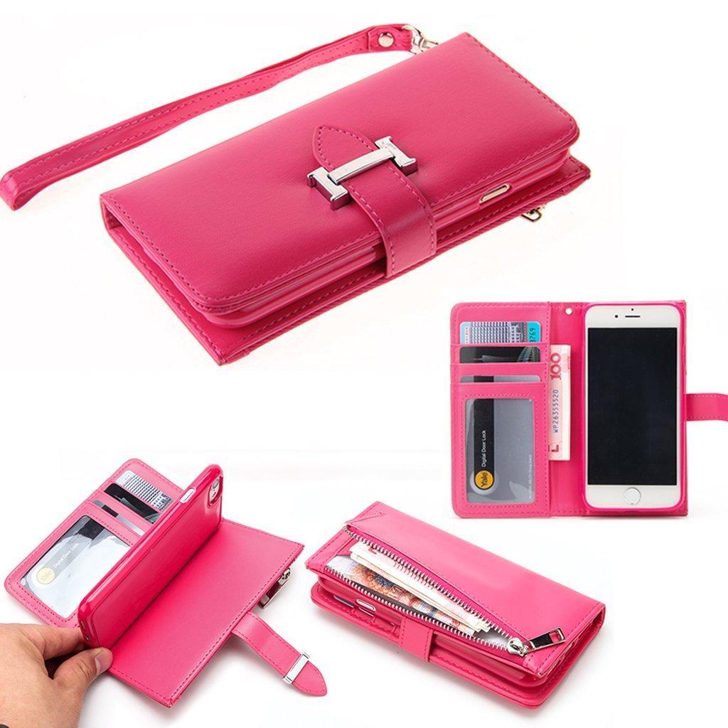 iPhone 7 手帳型 ピンク アイホン7 財布型 スマホ ケース ジッパー型 収納 100%手作り 後ろに磁石 (iPhone 7, ピンク )