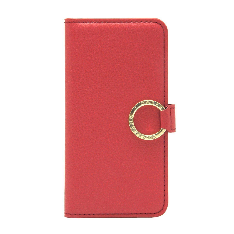 [CASEBANK] リングシリーズケース iPhone7 4.7インチ 落下防止 実用新案取得済 手帳型 カバー (レッド) Y7-RING-01-Red