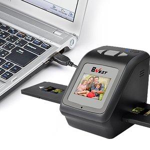 フィルムスキャナー 高解像度4400dpi1400万画素 昔から撮ったフィルムに眠っている写真をキレイに蘇るネガスキャナー USB接続 黒/ブラック