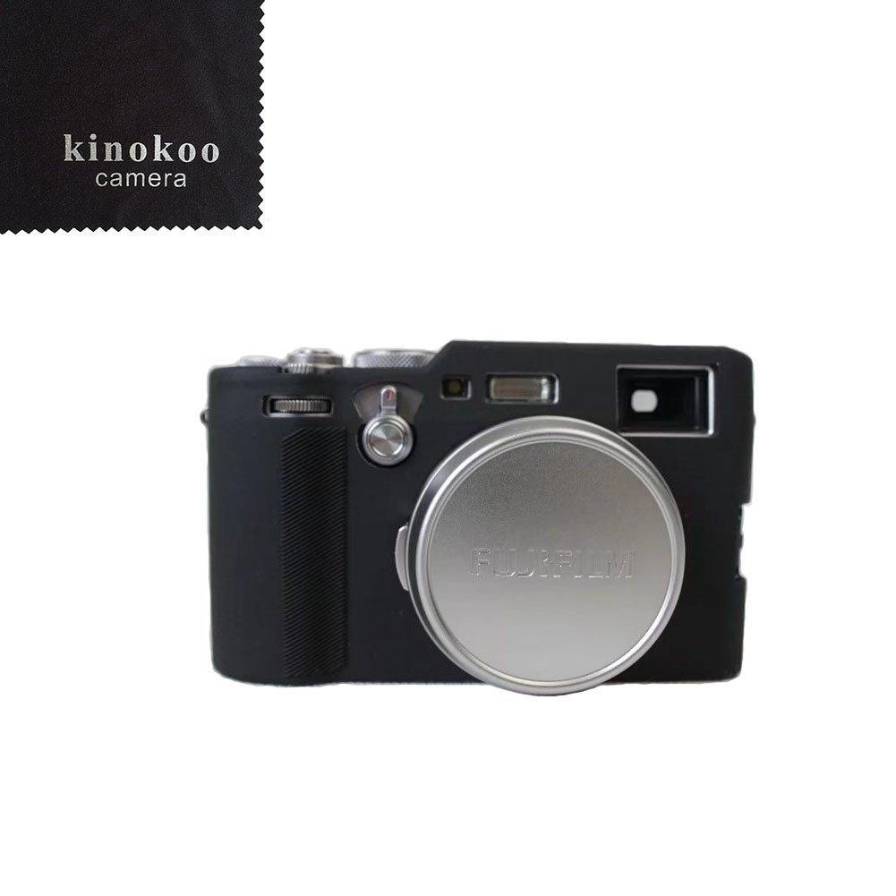kinokoo 富士 フイルム FUJIFILM X100F デジタルカメラ専用 シリコンカバー カメラケース カメラカバー 標識クロス付き (BK)