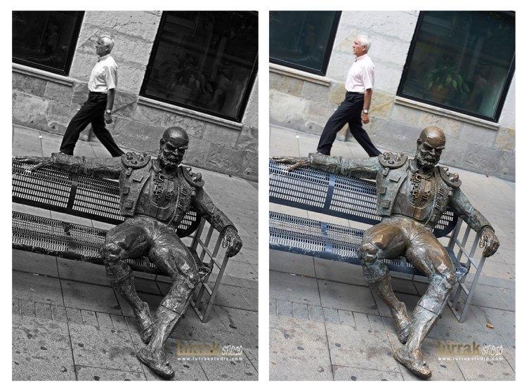Aqui el blanco y negro contribuye a centrarnos en la idea y la escultura parece en mejor estado