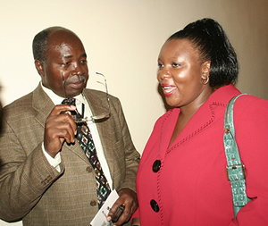 New Finance minister Situmbeko Musokotwane and his counterpart from Transport Dora Siliya