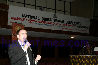 AFRICONNECT marketing manager Jonathan Elliot during the launch of the NCC website in Lusaka