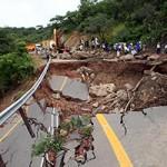 Engineers working on a diversion to repair the Lusaka-Chirundu road