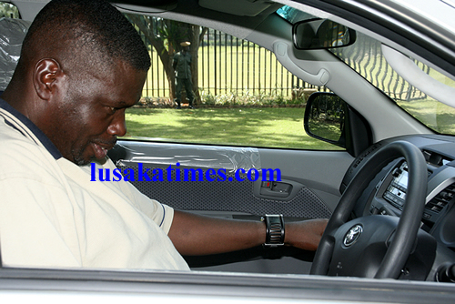 File picture:George Lwandamina trying his new Toyota Raider Pick-up given to him as Zambia national soccer team assistant coach.