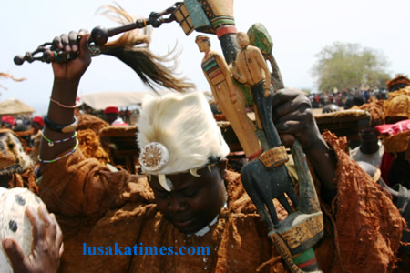 Senior Chief Puta of the Bwile people of Chienge District in Luapula,in action during last year's Bwilile Ceremony at his palace.