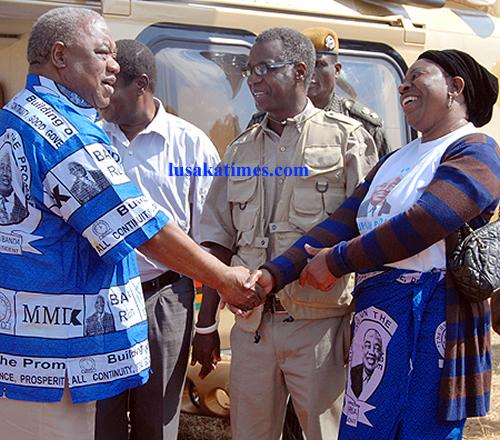 President Banda is welcomed by Eva Mwanawasa in Serenje