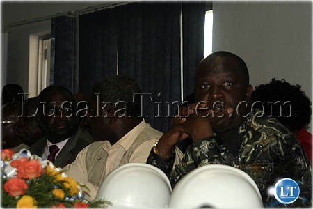 Commerce minister Felix Mutati and other minister during a presentation the Nakambala Sugar project in Mazabuka