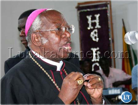 The Inter-Religious and International Federation for World Peace recently conducted a one-day conference which was graced by former Lusaka Archbishop Emmanuel Milingo. Above, Milingo addresses conference at the Church of God Cathedral of Praise in Lusaka.