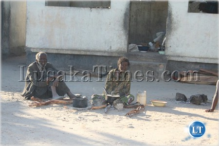 Some old people captured at the visitors' shelter at Kaoma hospital.