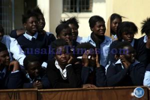 File: Some pupils from Nelson Mandela basic school in Lusaka